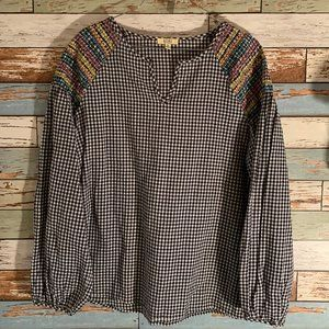 KORI Boutique Embroidered Gingham Peasant Blouse S